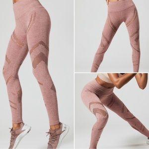 Rose colored high waisted Alo leggings